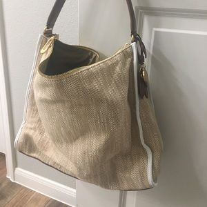 T Tahari Brown Leather Trim Bag
